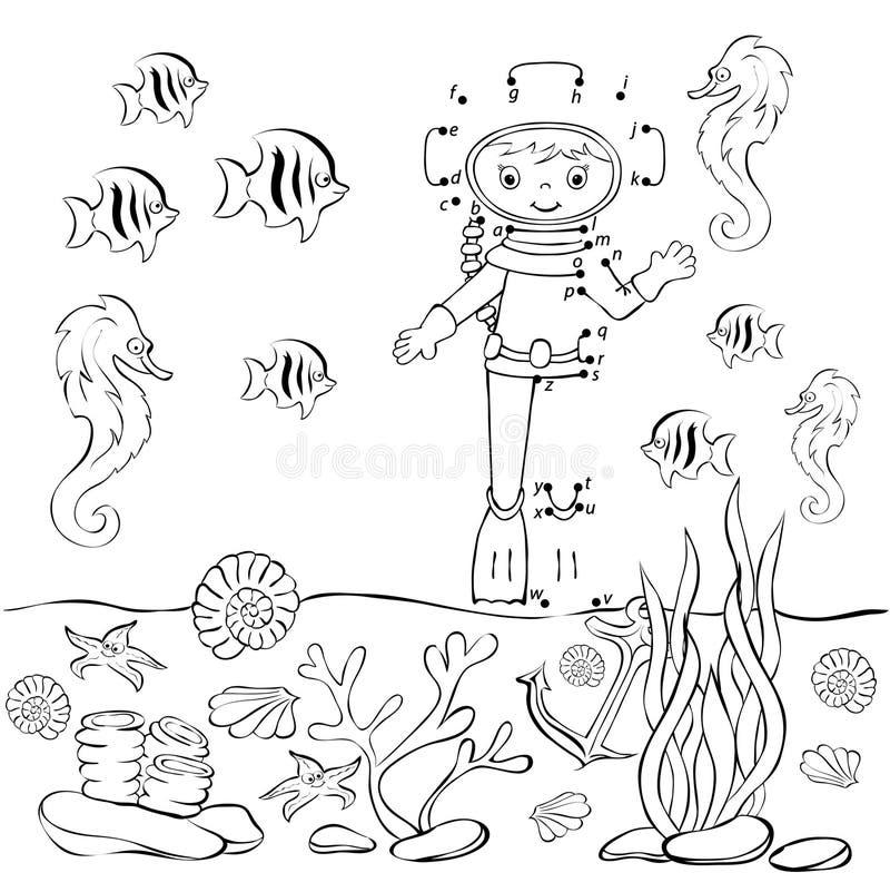 滑稽的动画片潜水者在海洋 也corel凹道例证向量 着色 皇族释放例证