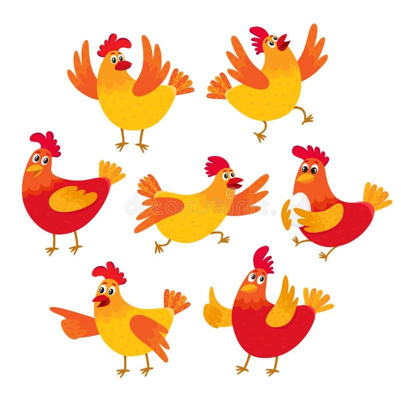 滑稽的动画片红色和橙色鸡,母鸡以各种各样的姿势 皇族释放例证