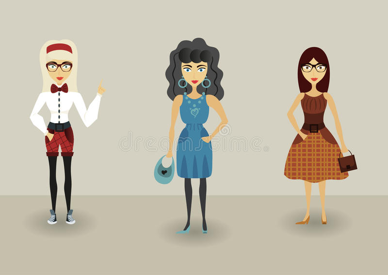 滑稽的动画片行家字符,有行家时尚的年轻浪漫女孩 向量例证