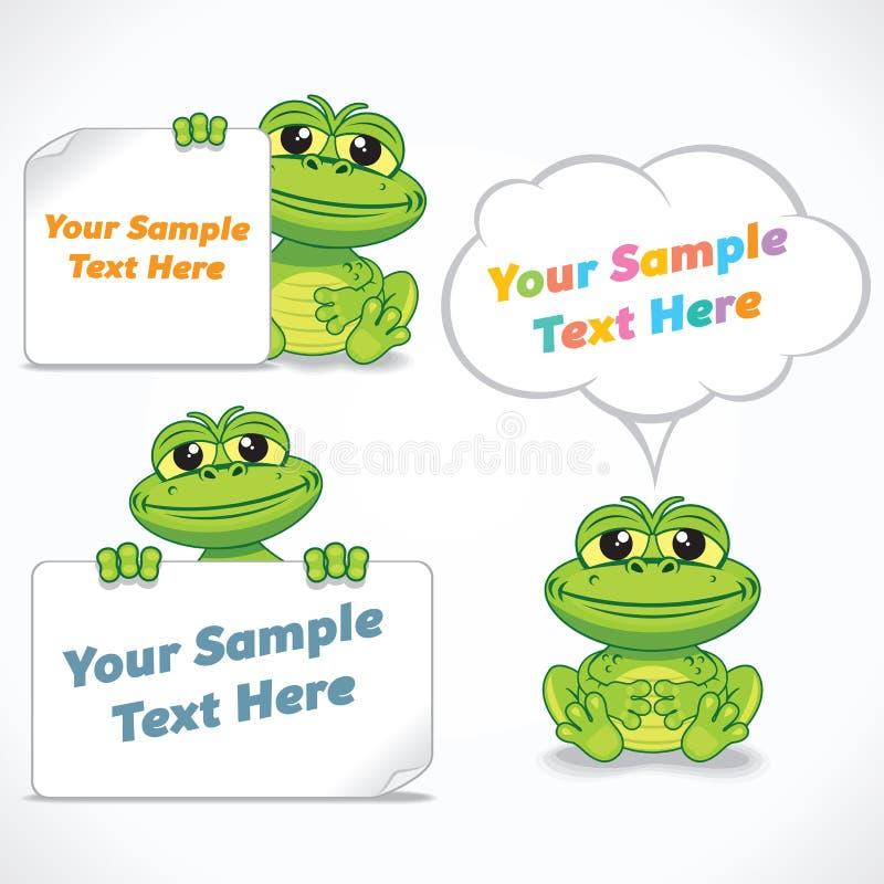 滑稽的动画片龙或青蛙与空白的横幅 库存例证