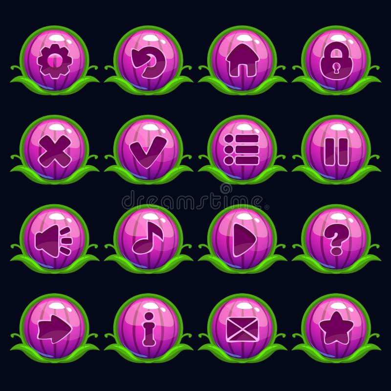 滑稽的动画片紫色圆的菜单按钮 皇族释放例证