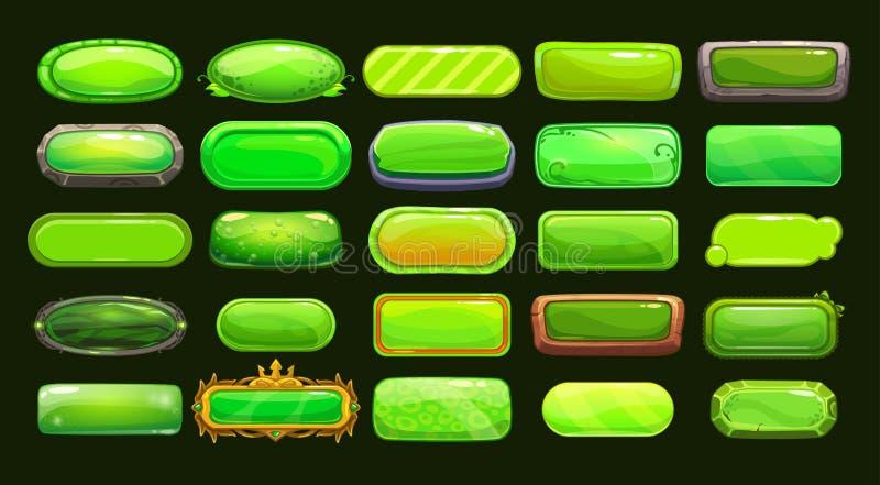 滑稽的动画片绿色长的水平的按钮 库存例证