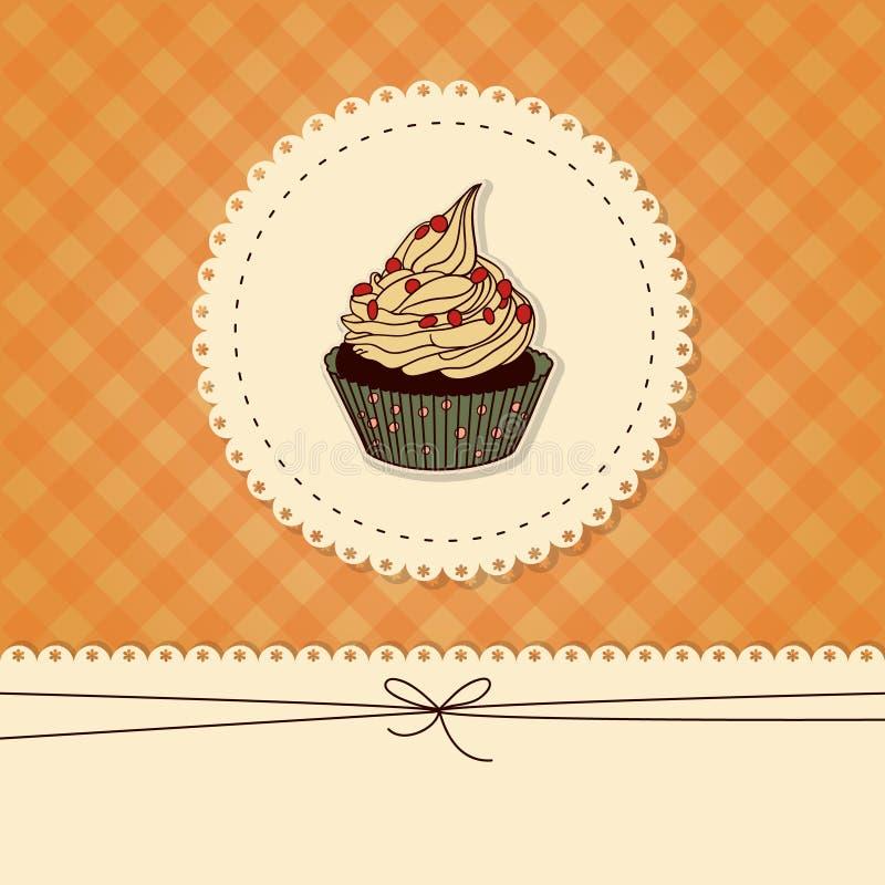 滑稽的卡片、邀请用杯形蛋糕和地方 皇族释放例证