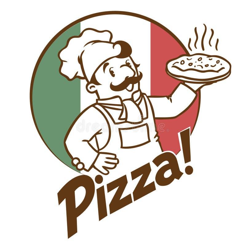 滑稽的厨师或面包师象征用薄饼和商标 库存例证