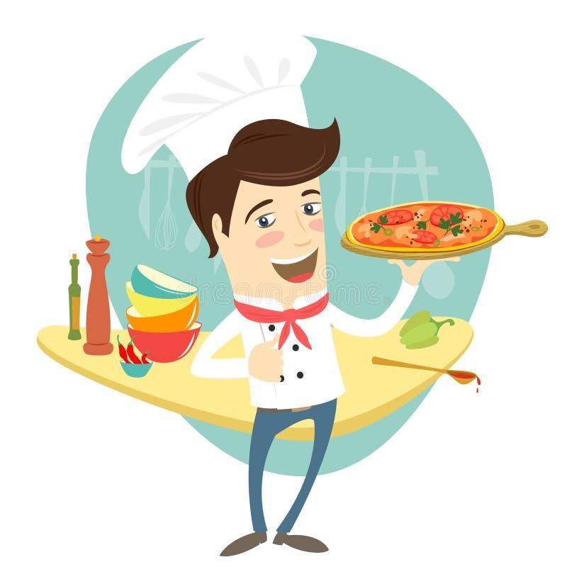 滑稽的厨师服务薄饼盘在厨房里 向量例证
