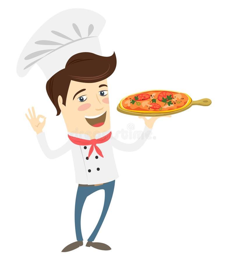 滑稽的厨师服务薄饼盘在厨房里 库存例证