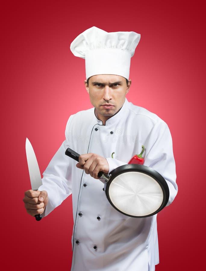 滑稽的厨师武士 库存照片