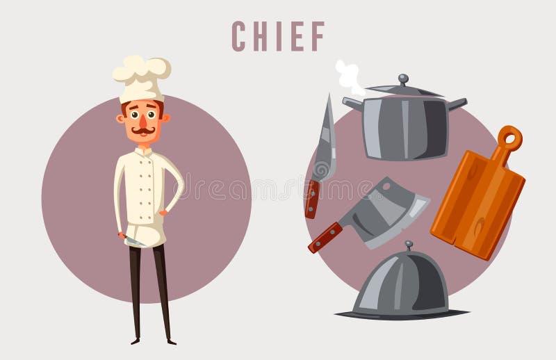 滑稽的厨师,逗人喜爱的字符 动画片司令员枪他的例证战士秒表 库存例证