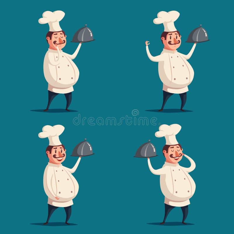 滑稽的厨师,逗人喜爱的字符 男孩动画片不满意的例证少许向量 皇族释放例证