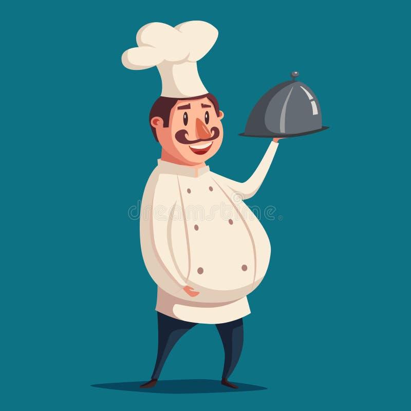 滑稽的厨师,逗人喜爱的字符 男孩动画片不满意的例证少许向量 向量例证