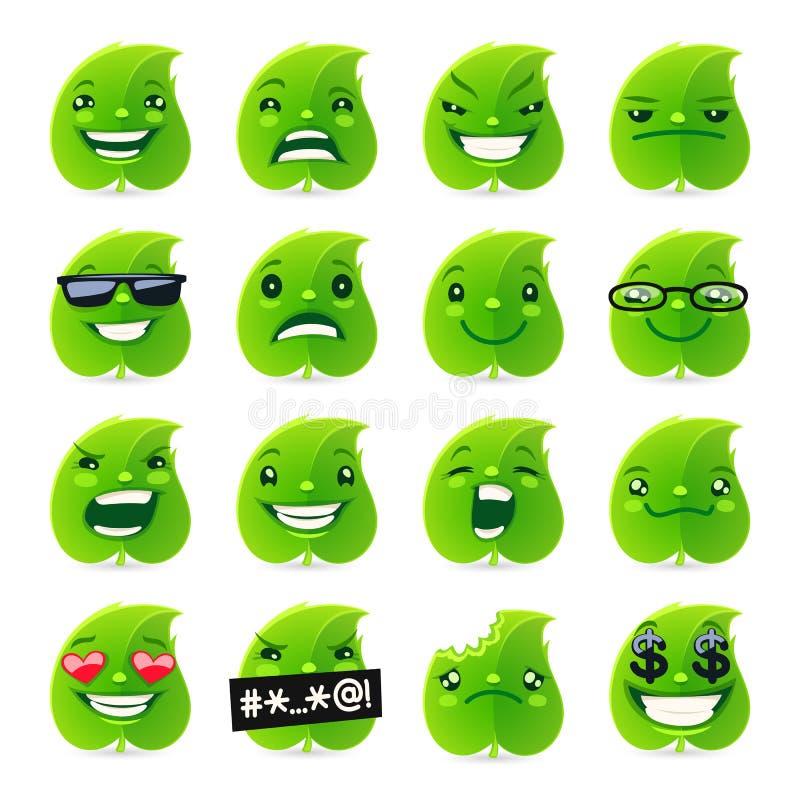 滑稽的叶子Emojis 皇族释放例证