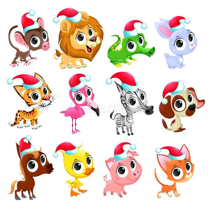 滑稽的圣诞节动物 库存例证