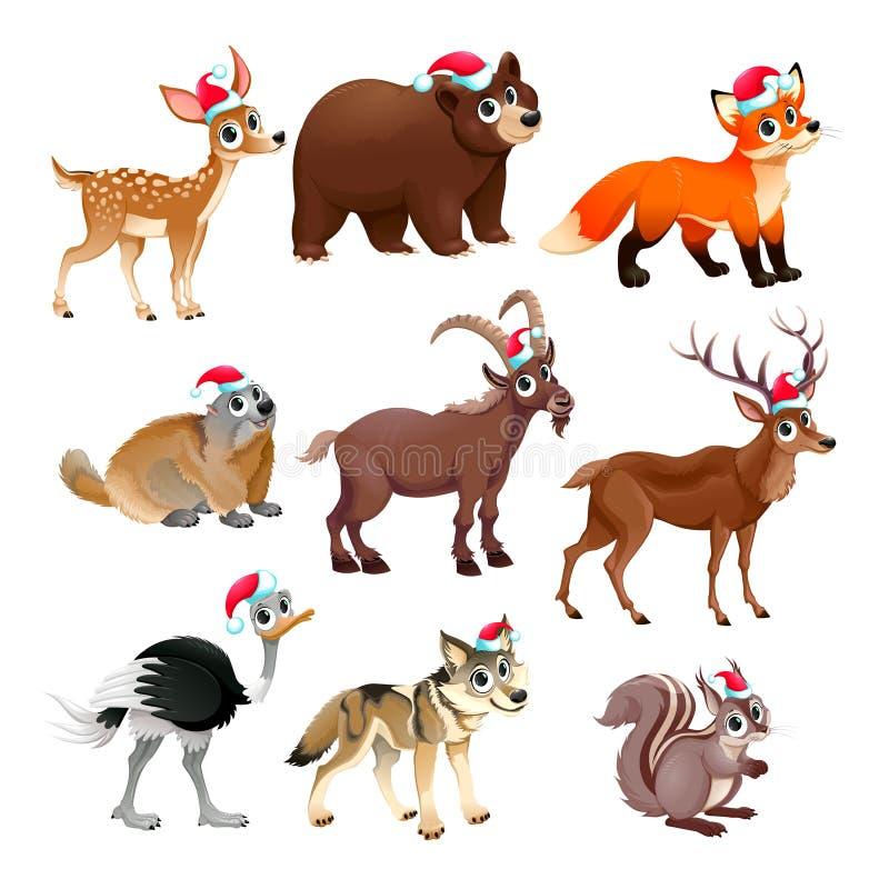 滑稽的圣诞节动物 向量例证