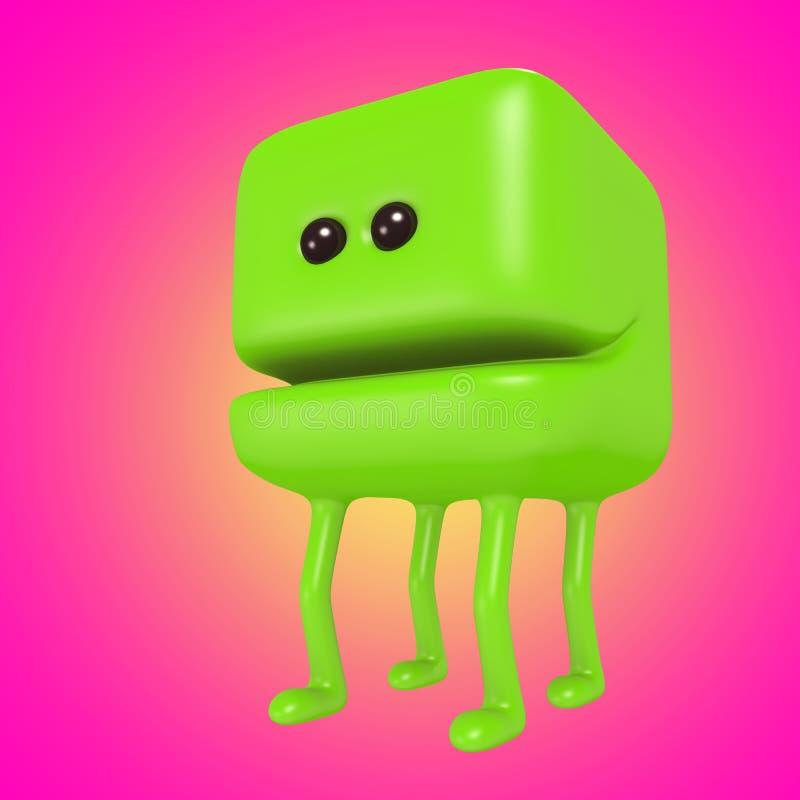 滑稽的在腿的妖怪微笑的绿色立方体 3d例证 库存例证