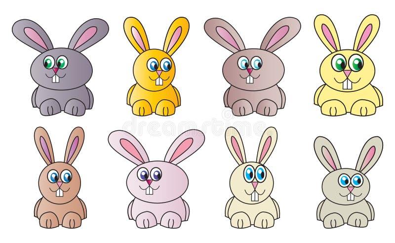滑稽的复活节兔子传染媒介标志,象设计 在白色背景隔绝的春天例证 库存例证