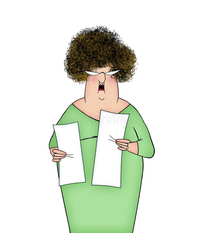 滑稽的夫人Holding Bills支付的或长的计划目录 向量例证