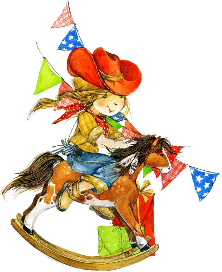 滑稽的女孩和生日假日背景 额嘴装饰飞行例证图象其纸部分燕子水彩 向量例证