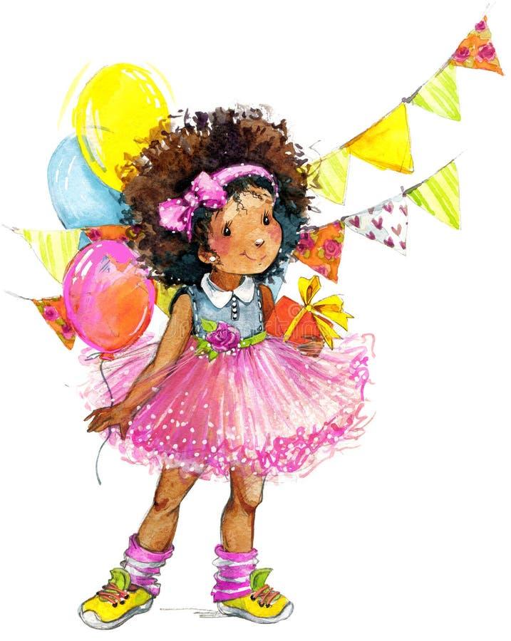 滑稽的女孩和生日假日背景 额嘴装饰飞行例证图象其纸部分燕子水彩 库存例证