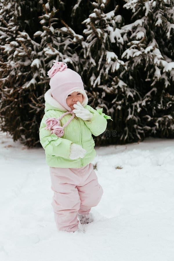 滑稽的小女孩获得乐趣在美丽的冬天公园在期间 图库摄影