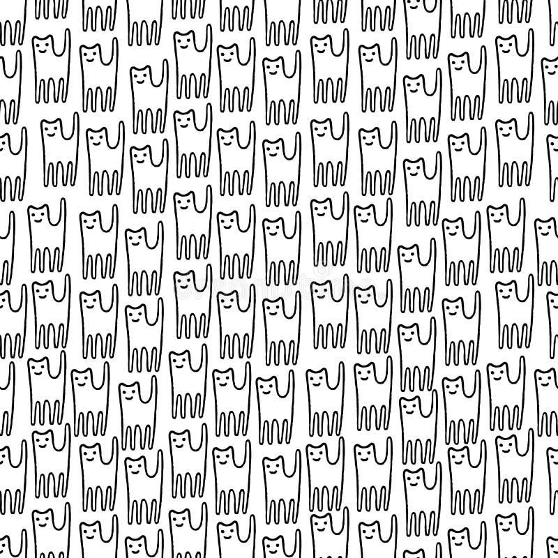 滑稽的小猫手拉的无缝的样式 黑白线 皇族释放例证