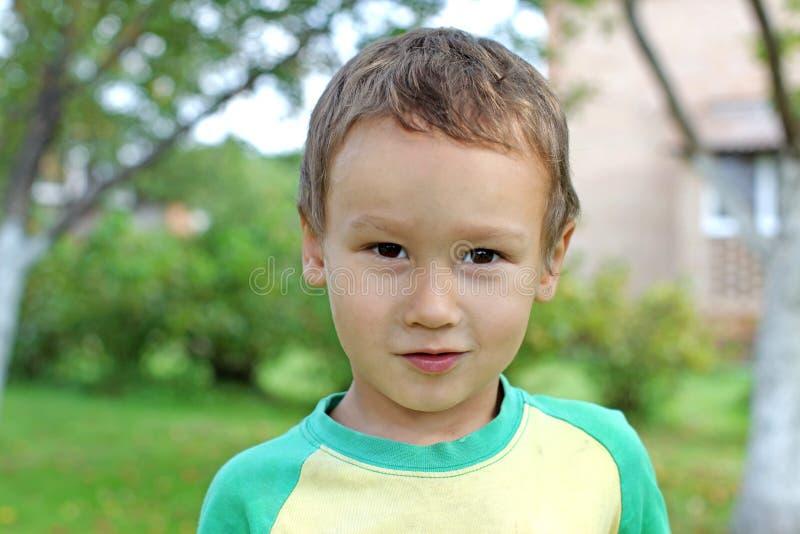 滑稽的小男孩户外3-4岁 库存照片