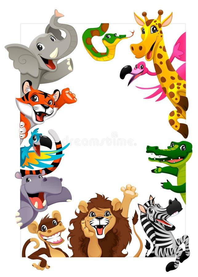 滑稽的小组密林动物 皇族释放例证