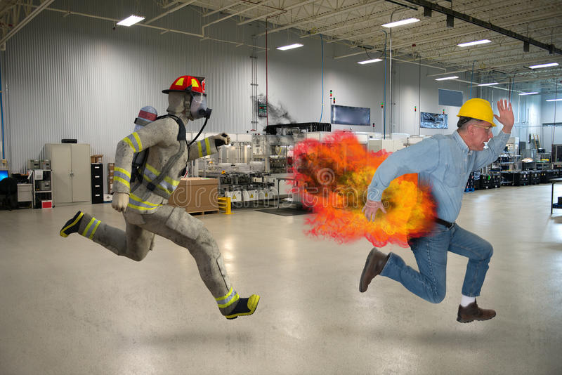 滑稽的工作安全,工厂劳工 免版税库存照片