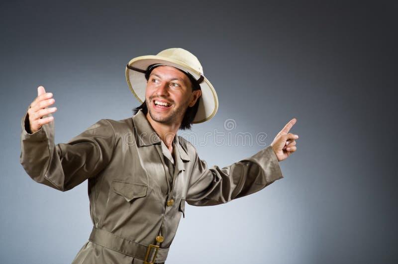 滑稽的徒步旅行队猎人 免版税库存照片