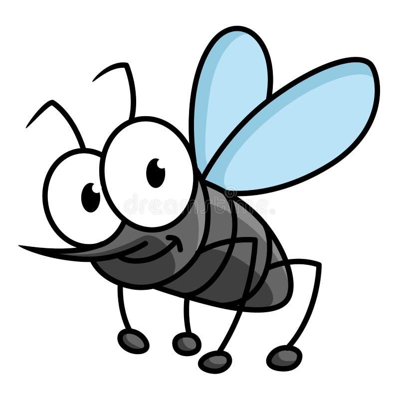 滑稽的微笑的灰色蚊子漫画人物 向量例证