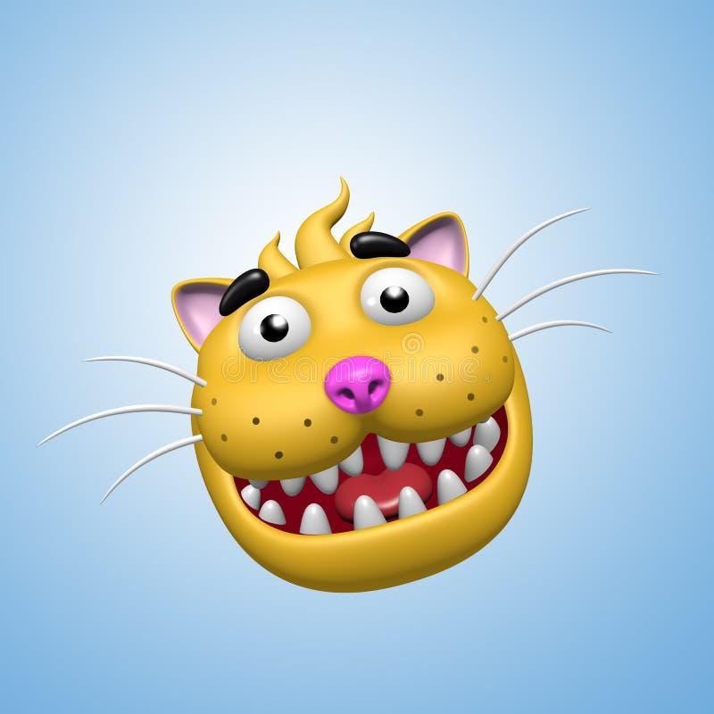 滑稽的微笑的猫面孔 3d例证 皇族释放例证