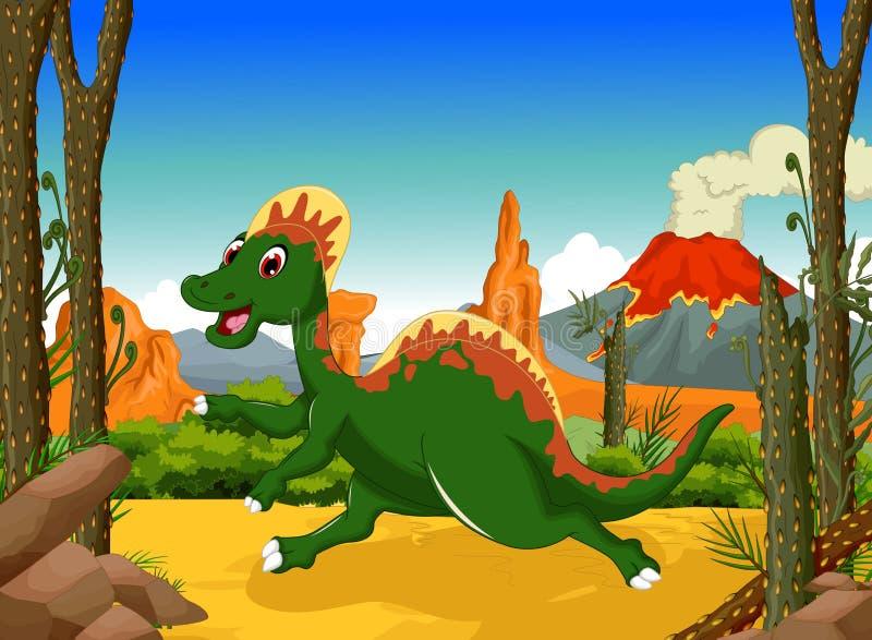 滑稽的恐龙动画片有森林风景背景. 可笑, 愉快.图片