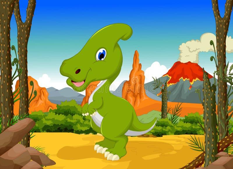 滑稽的恐龙parasaurolophus动画片有森林风景背景图片