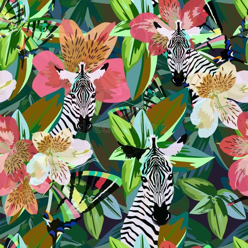 滑稽的斑马抽象水彩凹道镶边了在花卉背景的黑白色 皇族释放例证
