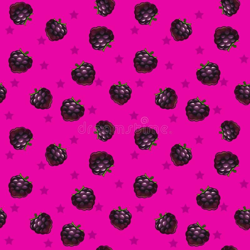 滑稽的明亮的无缝的样式用黑莓 皇族释放例证