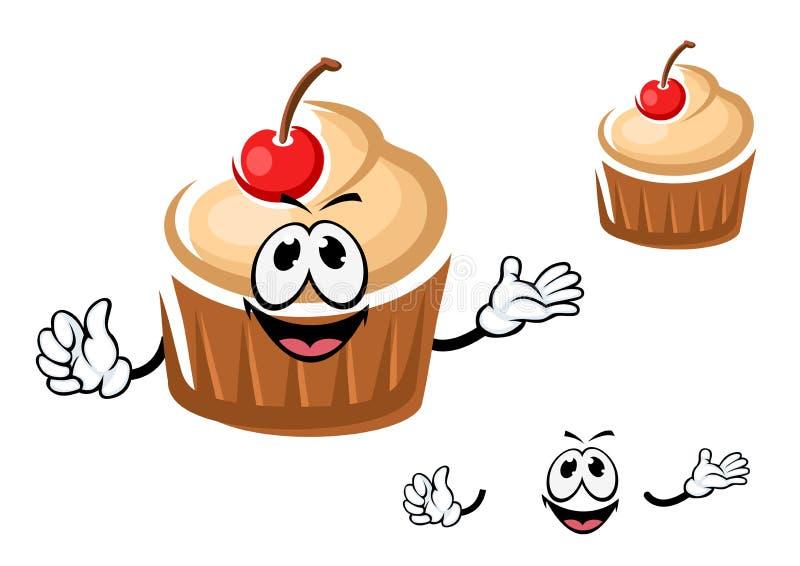 滑稽的杯形蛋糕字符用樱桃 向量例证