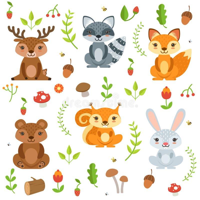 滑稽的森林动物和花卉元素孤立在白色背景 在动画片样式的传染媒介例证 皇族释放例证