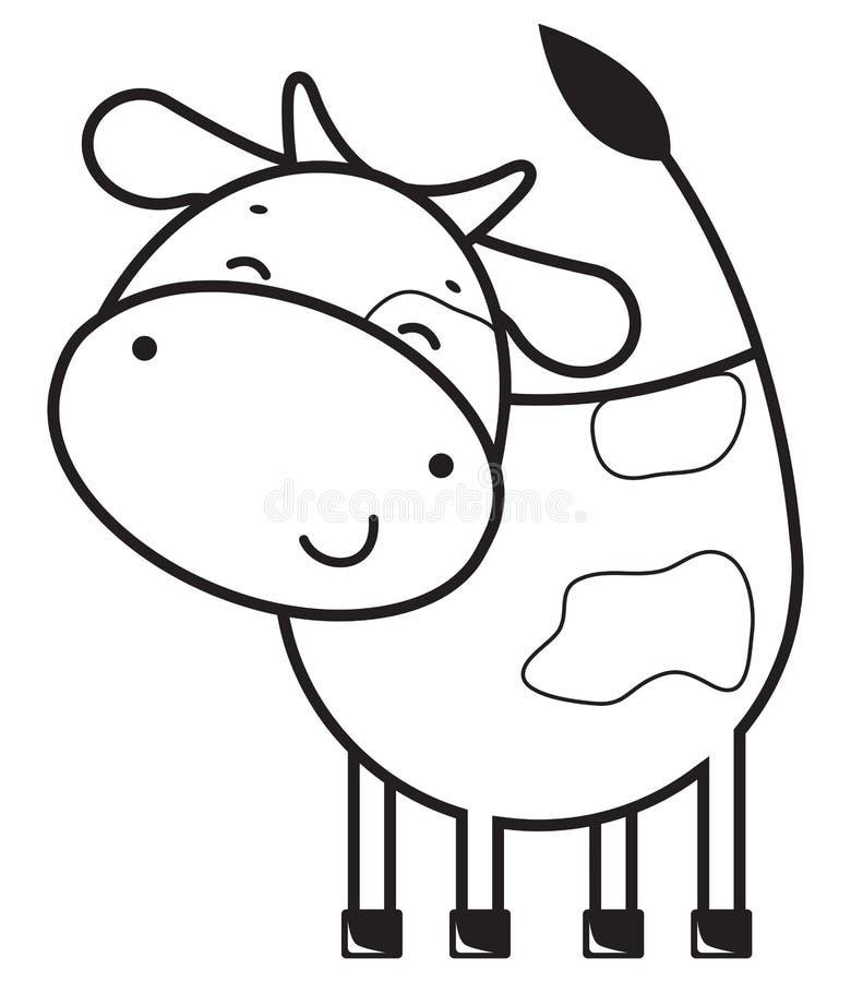 滑稽的概述母牛 库存例证