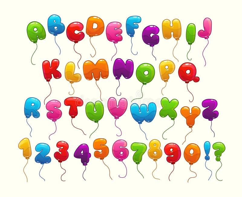 滑稽的气球字母表 皇族释放例证