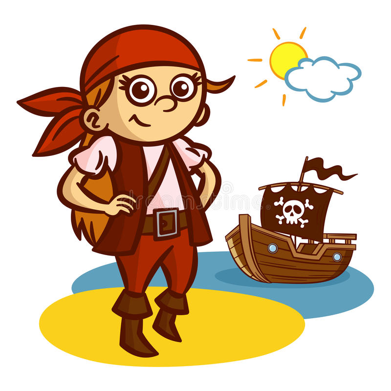 滑稽的海盗女孩船 皇族释放例证