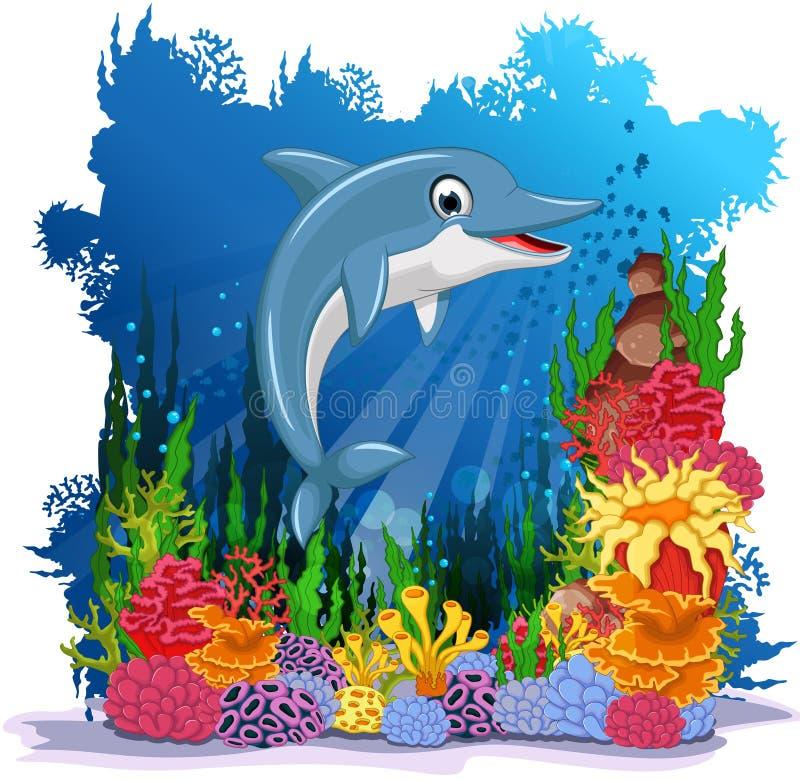 滑稽的海豚有海洋生活背景 皇族释放例证