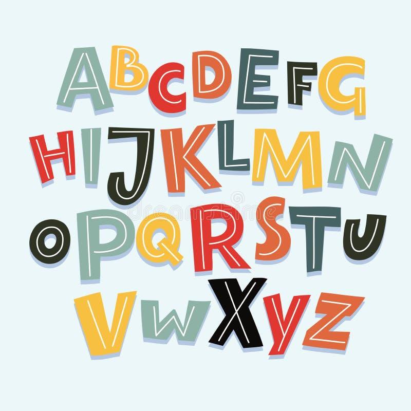 滑稽的漫画字体 传染媒介与所有信件和数字的动画片字母表 库存例证