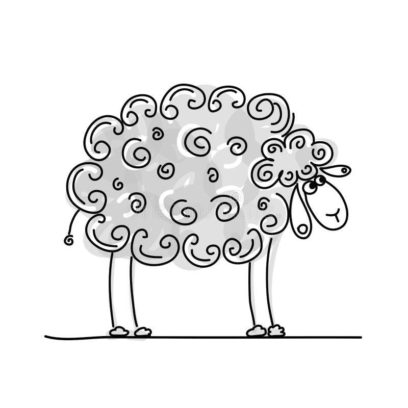 滑稽的灰色绵羊,您的设计的剪影 库存例证