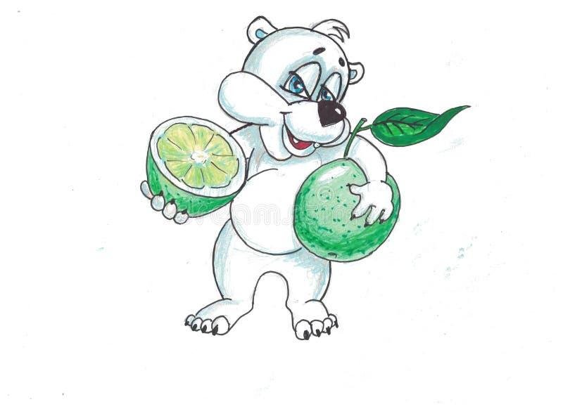 滑稽的熊用果子 免版税库存照片