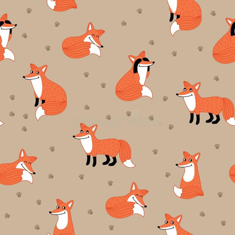 滑稽的狐狸手拉的无缝的样式 库存例证