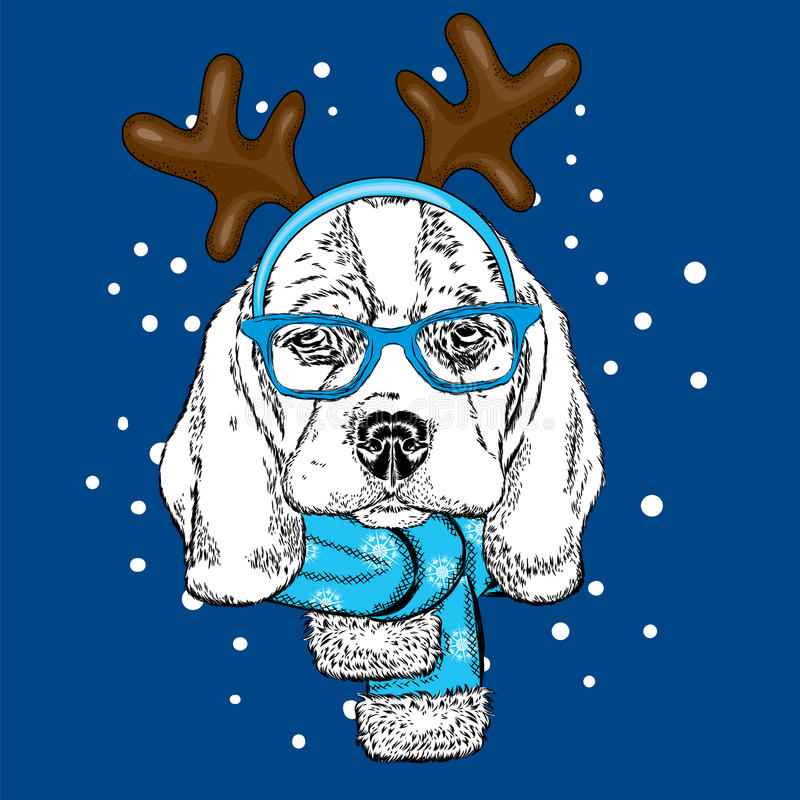 滑稽的狗佩带的玻璃和与垫铁 在鹿服装的小狗 库存例证