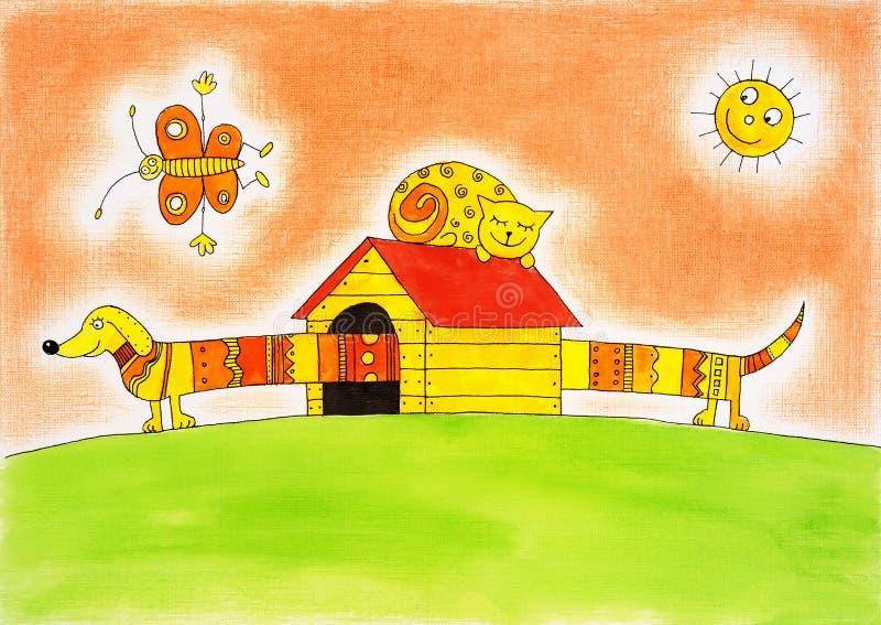 滑稽的狗和猫,儿童的图画,在纸的水彩绘画 向量例证