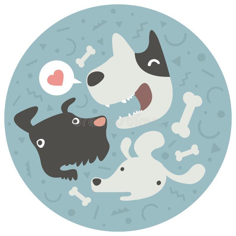 滑稽的狗小组,宠物,传染媒介例证 库存例证