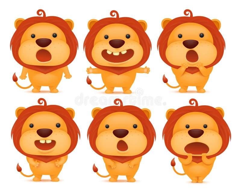 滑稽的狮子意思号字符的汇集用不同的情感 库存例证