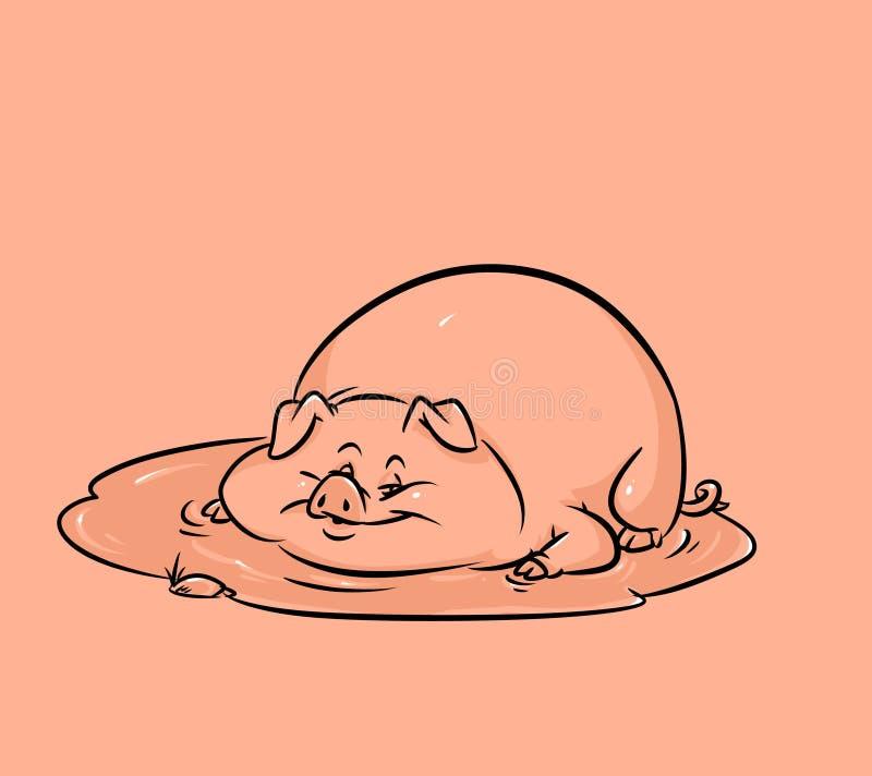 滑稽的猪水坑动画片 皇族释放例证