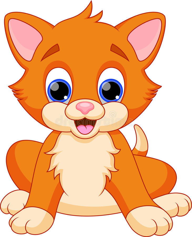 滑稽的猫动画片 库存例证